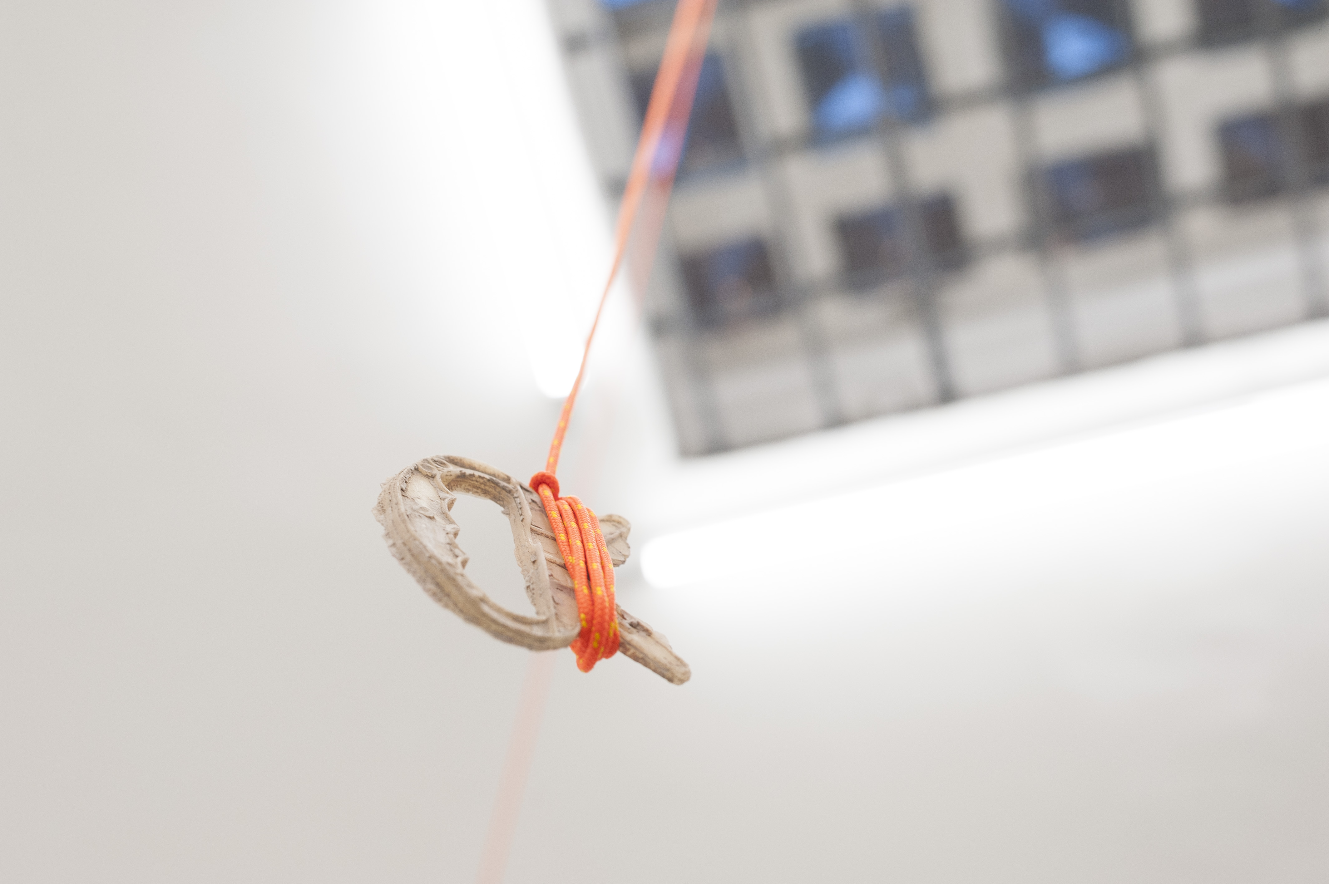 3- Decollo - installation - variable dimension - carbon, rope, wax, clay - 2019 detail 02